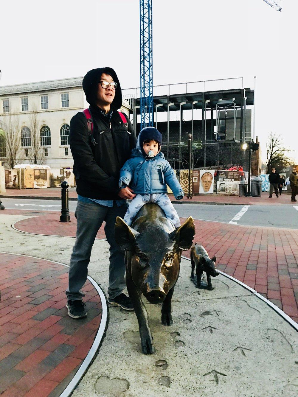 crossroads station pig sculpture - Asheville, nc