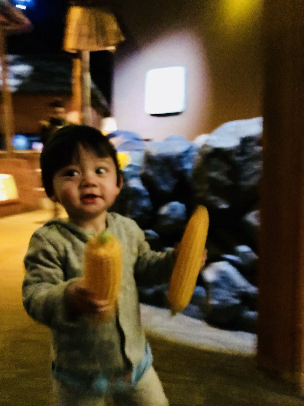 Lewis loved the baskets of corn and wanted to show them off to all the museum visitors. So hard to get a clear shot of him when he is excited about corn.