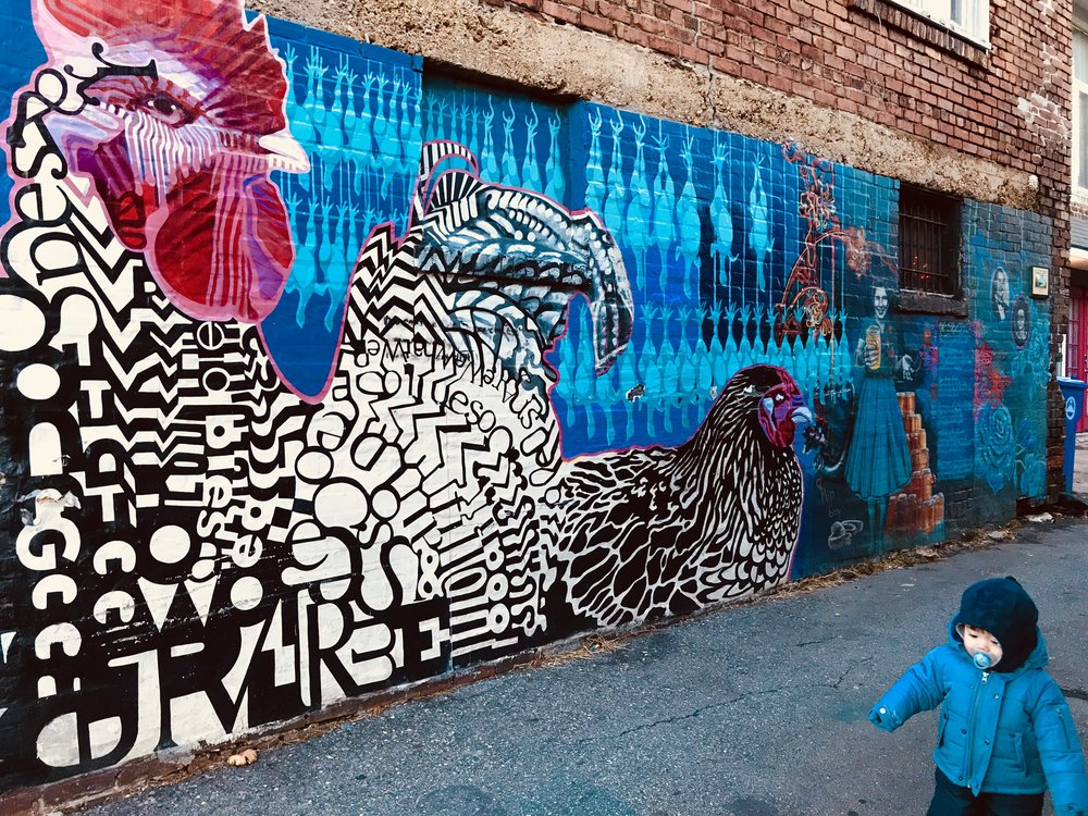 Right across the street from Forever Tattoo is the Chicken Alley Mural.