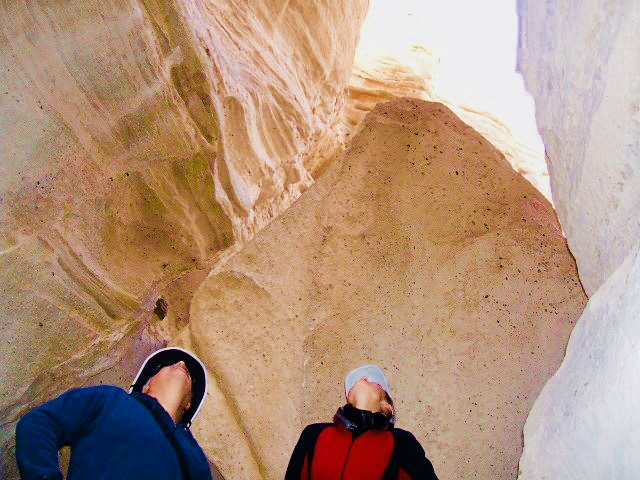 Inside a slot canyon on the tent rocks loop trail.