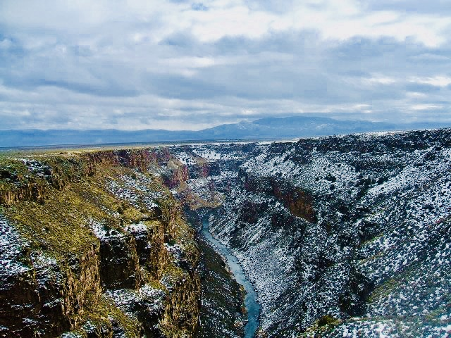 View from the Rio Grande Gorge Bridge on a snowy day.