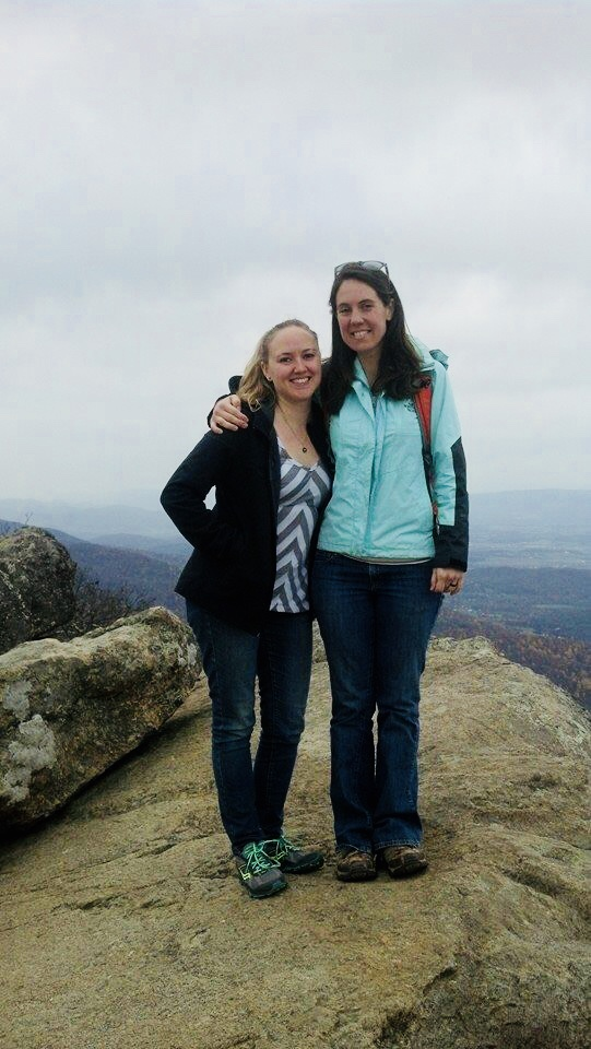 A Maine - Georgia thru-hiker took this picture  of me and my bestie at the summit in the fall.