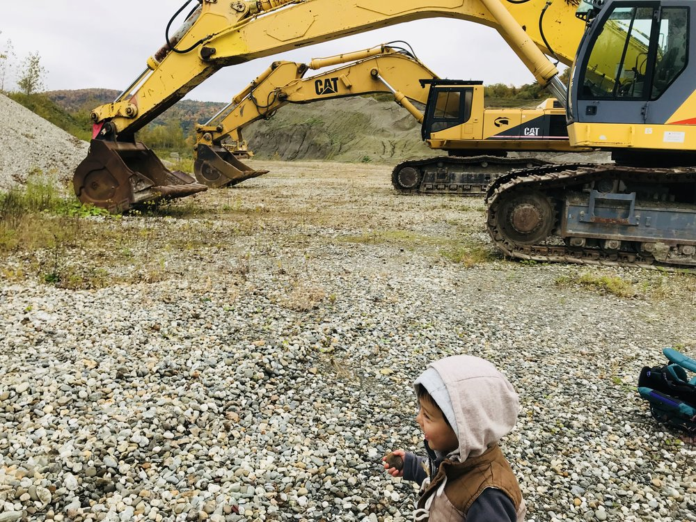 Best hiking payoff a two-year old boy could ask for - a huge construction site.