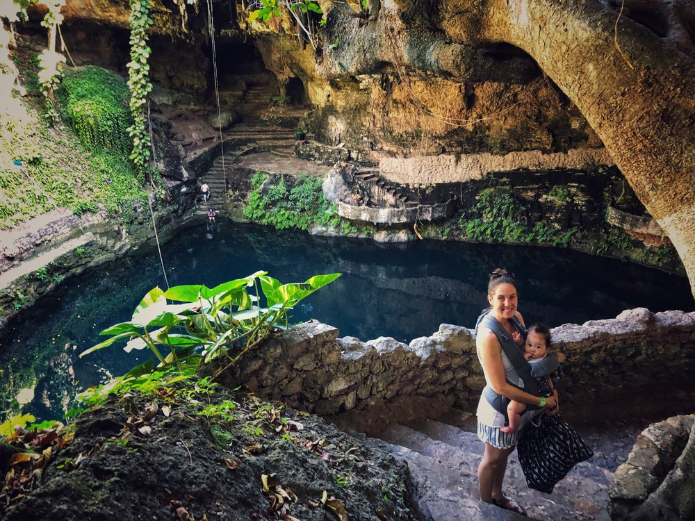 The stairs down to this cenote are very easy to traverse with a toddler and a baby in a carrier.