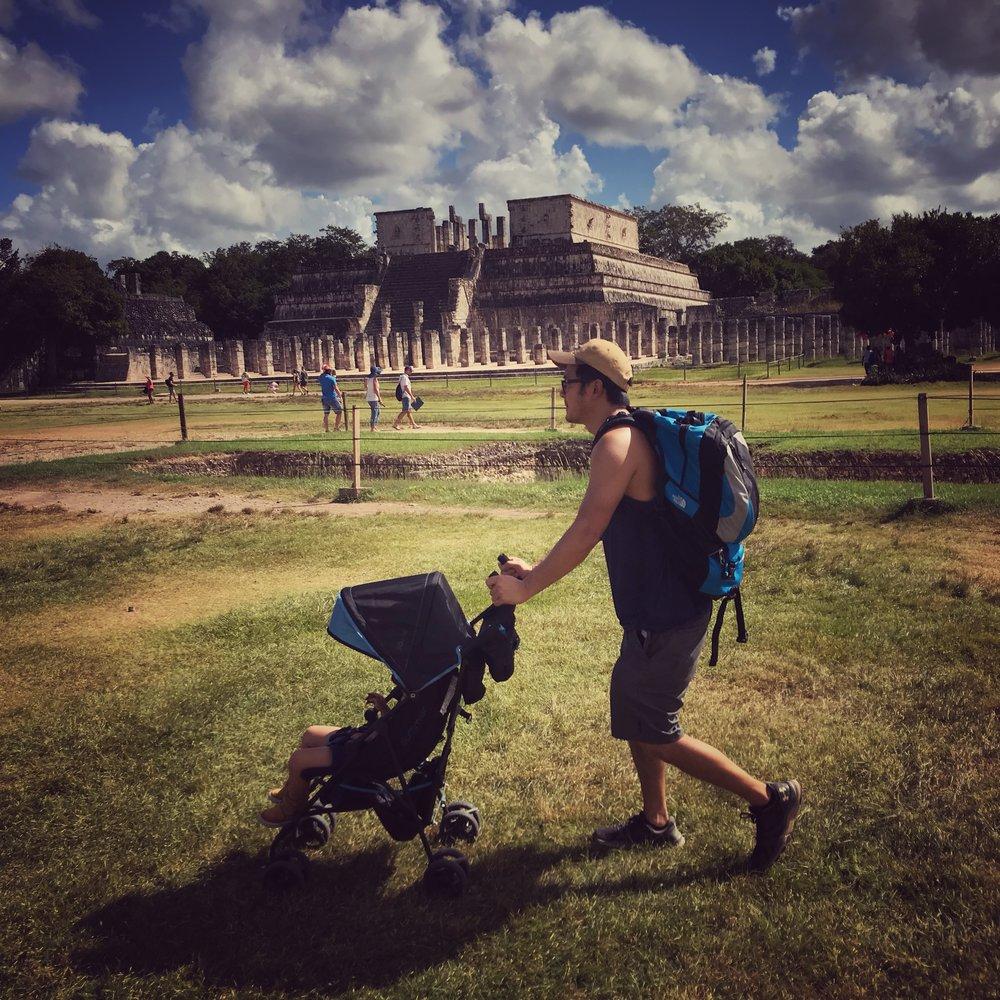 Chichen Itza with a stroller