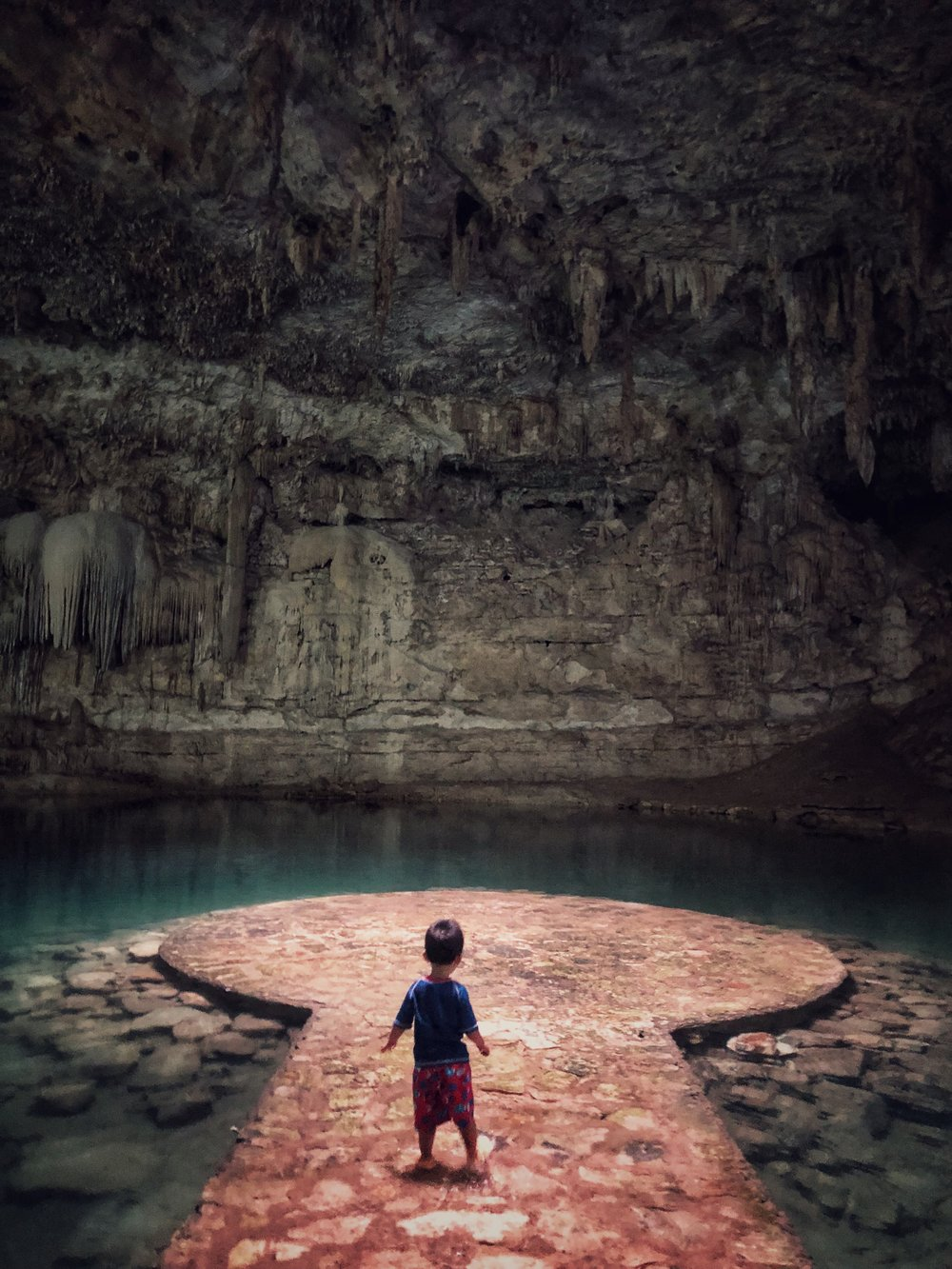 two year old at cenote suytun