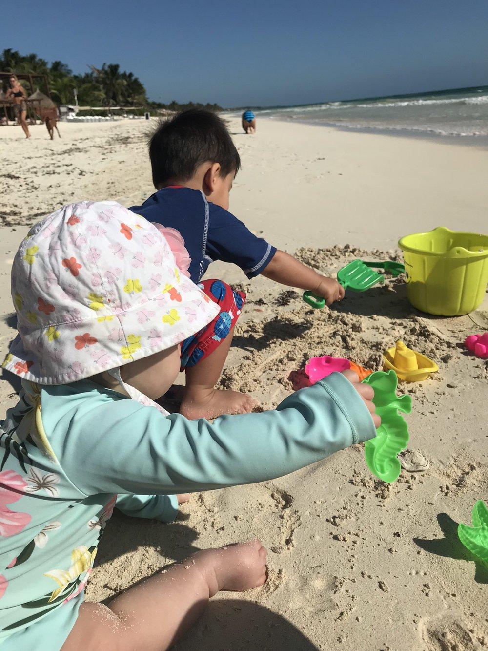 Tulum Beach - La Zebra Beach Club with a baby and a toddler