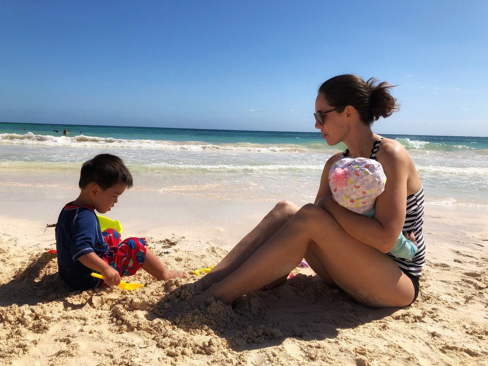 Tulum Beach with a toddler and a baby