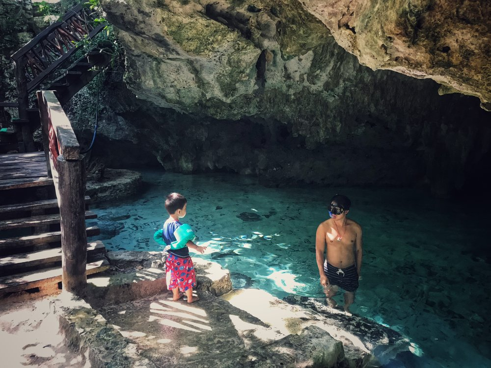 The back half of the Gran Cenote which was much easier to enter with a baby.