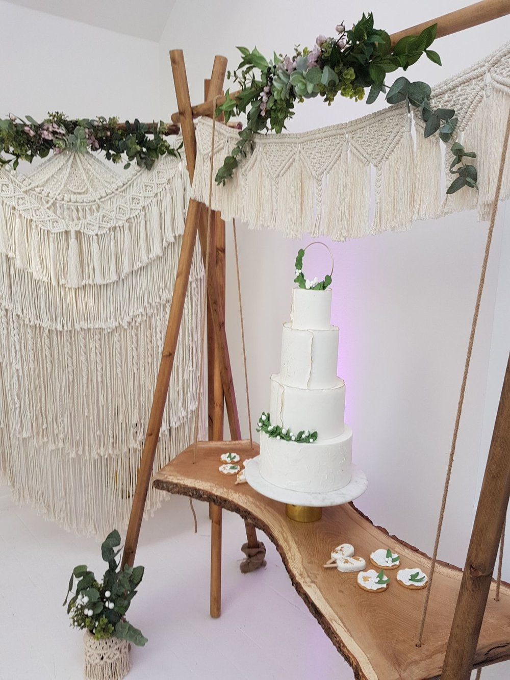 CAKE SWING and MACRAME BACKDROP