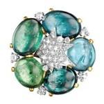 Verdura cabochon tourmaline and diamond brooch