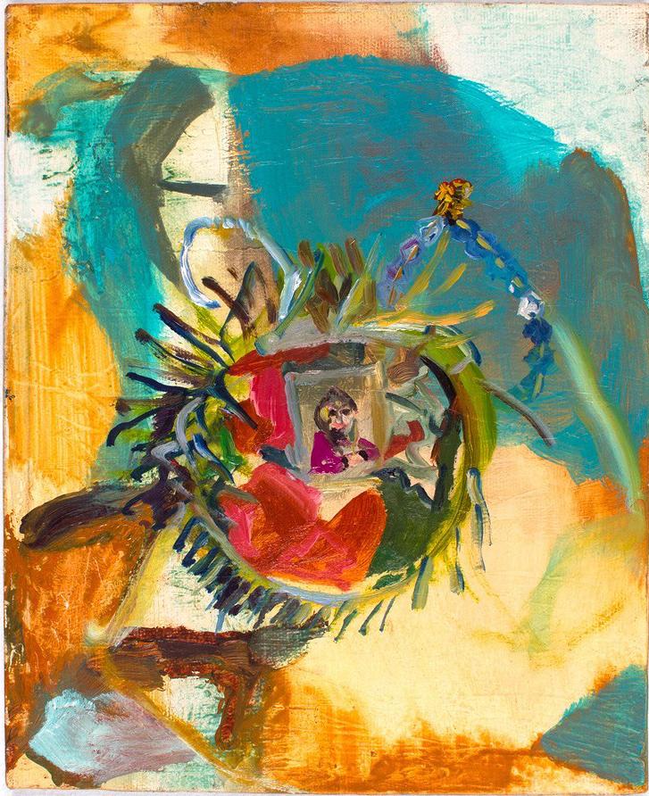 Ashley on Xmas '91  2014 oil on canvas 10 x 8 in.