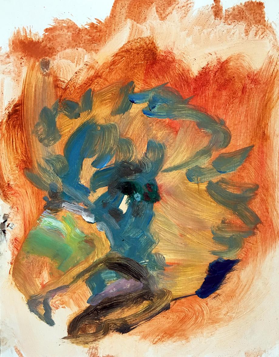 Bird Burns  2017 oil on paper 11 x 8.5 in.
