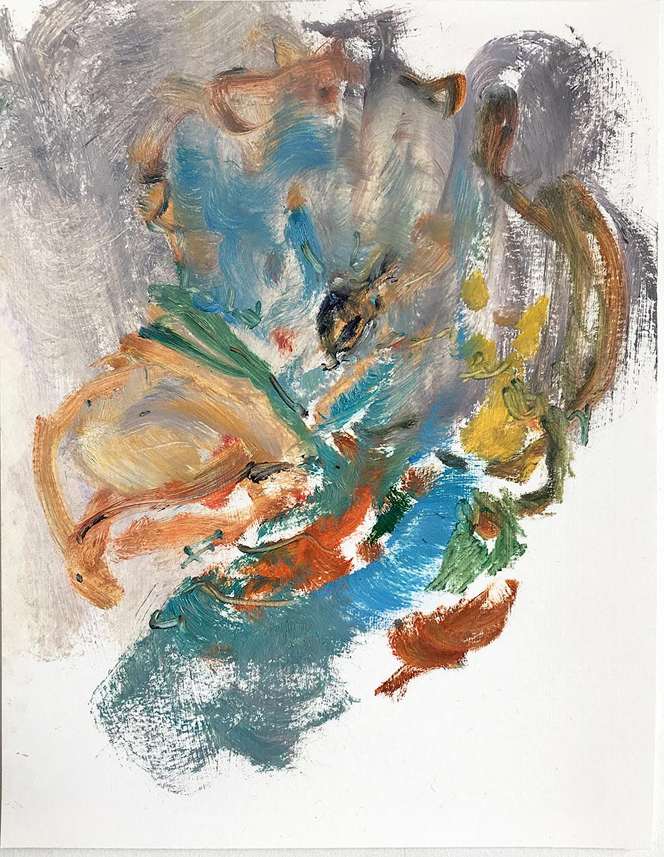 Bird In Atmosphere  2017 oil on paper 11 x 8.5 in.