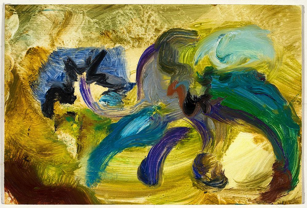 Crawl  2017 oil on paper 4 x 6 in.