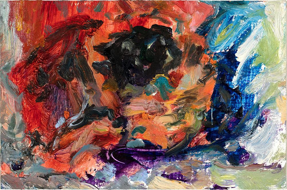 Bat Flower  2018 oil on paper 4 x 6 in.