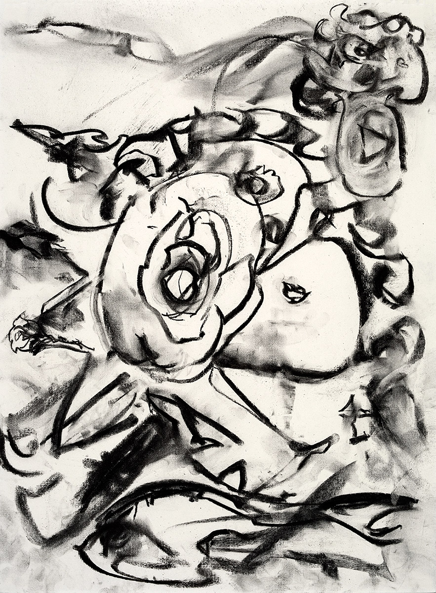 Rose Arose  2018 charcoal on paper 24 x 18 in.