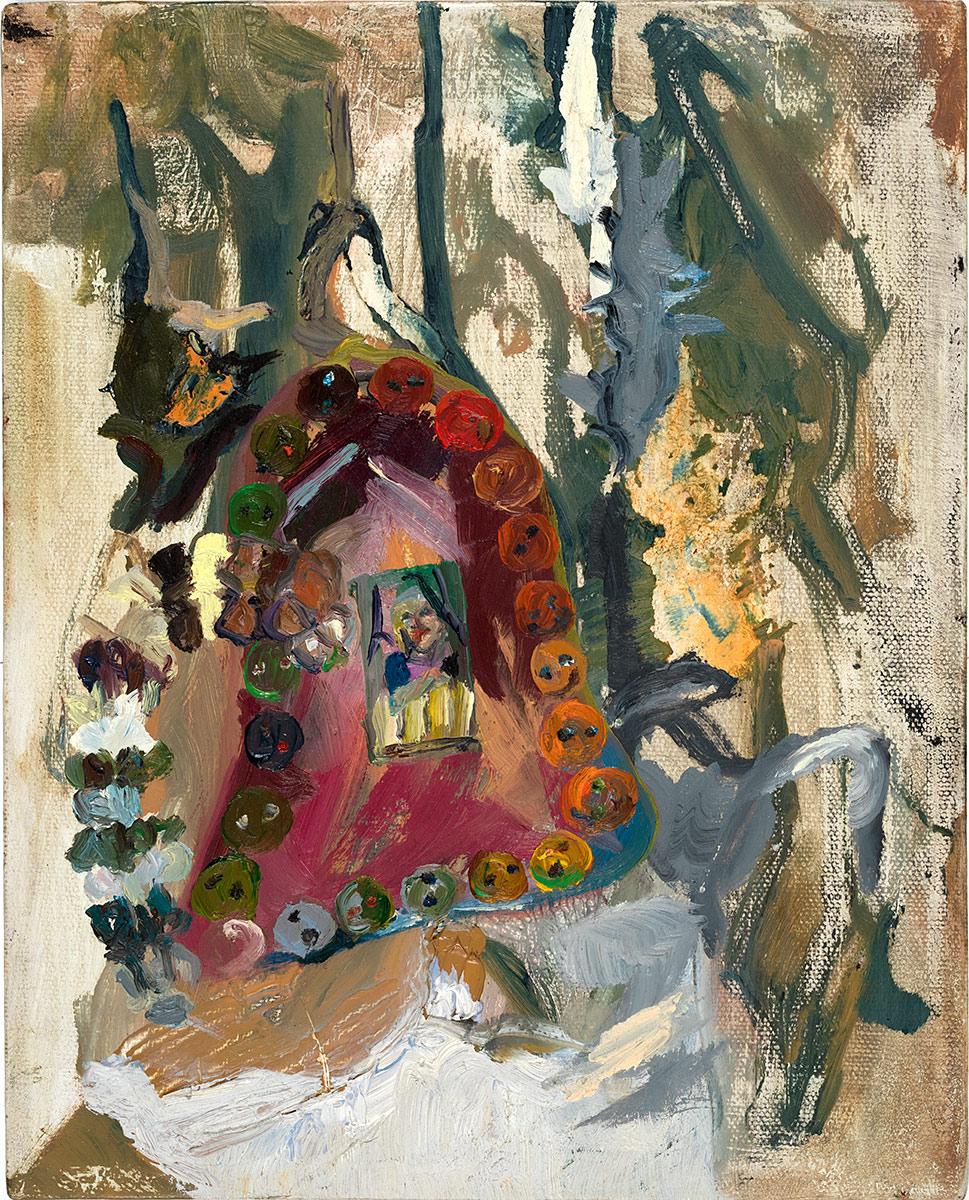 Ashley on Xmas '88  2014 oil on canvas 10 x 8 in.