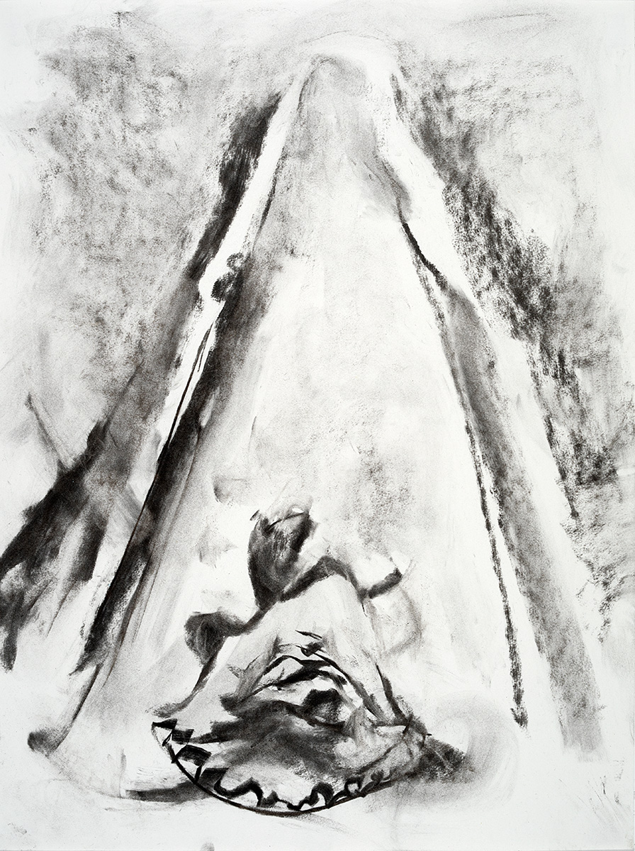 Path  2017 charcoal on paper 24 x 18 in.