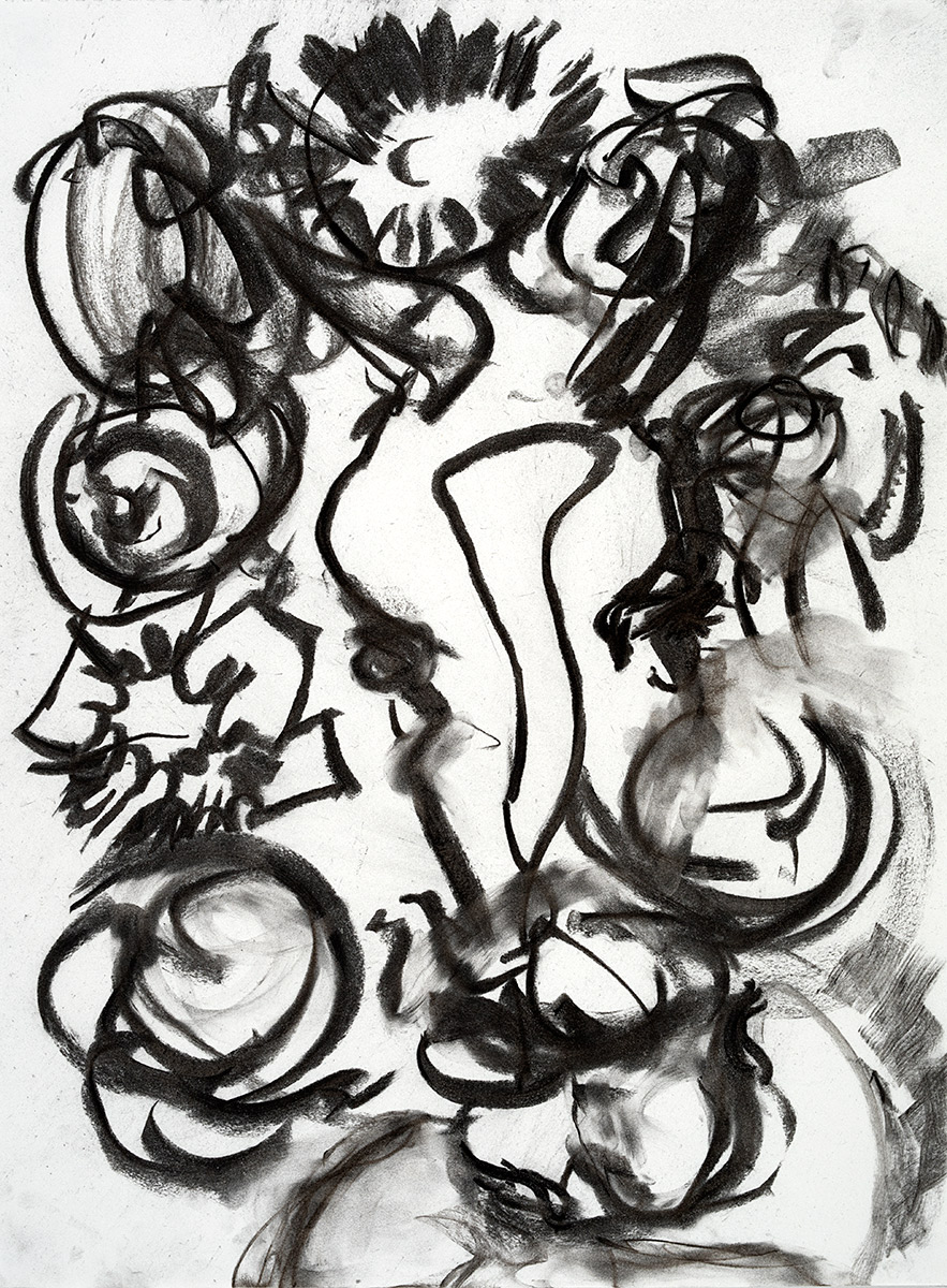 Wreath  2017 charcoal on paper 24 x 18 in.