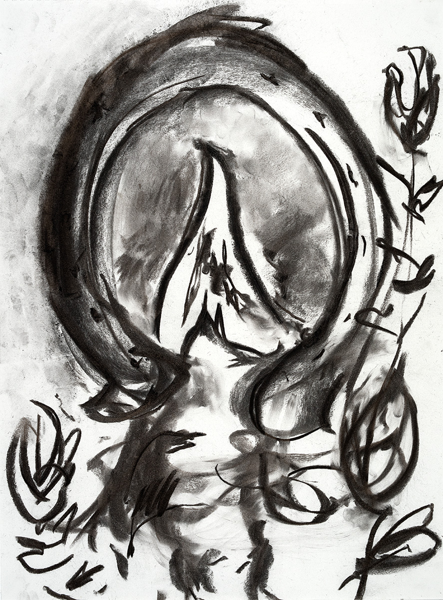 Crown  2018 charcoal on paper 24 x 18 in.