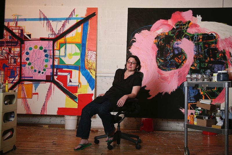 Joanne Greenbaum in her NYC studio. Photo courtesy    Exhibition A