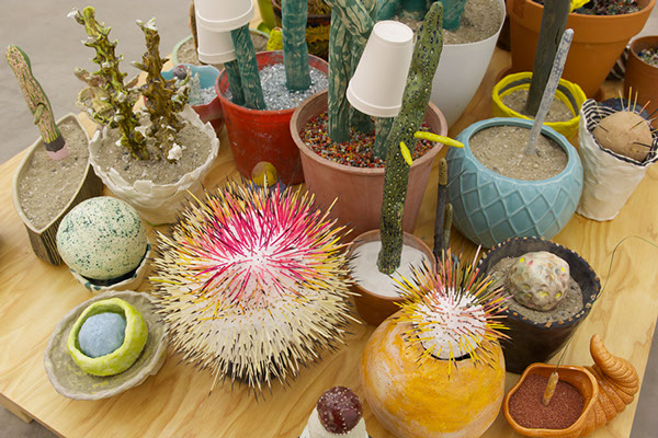 Cacti Display, 2014, ceramic, found materials, porcupine quills and semi-precious stones, 57 x 46 x 58 in (detail). Courtesy the artist.