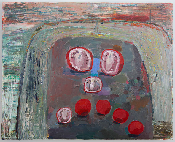 Sad Tomatoes, 2013, oil on canvas, 16 x 20 in. Photo by Tim Davis and Pete Mauney, courtesy the artist.