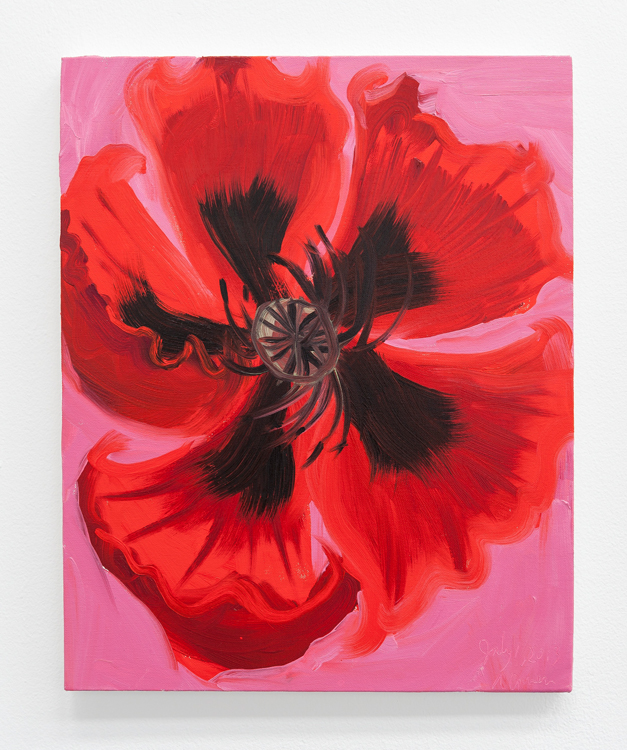 Poppy (Early June, Cushing, 7-2-13), 2013, oil on canvas, 20 x 16 inches. Courtesy Ann Craven Studio and Le Confort Moderne, Poitiers.