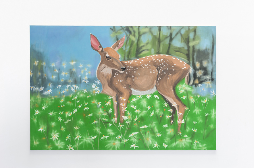 Dear and Daises (Life of the Fawn), 2004, oil on canvas, 72 x 108 inches. Courtesy Ann Craven Studio and Maccarone, New York.