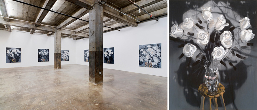 Left: Flowers installation view at Maccarone Gallery, New York, 2010. Right: Roses (Black and White Fade), 2010, oil on linen, 60 x 48 inches. Courtesy Ann Craven Studio and Maccarone, New York.