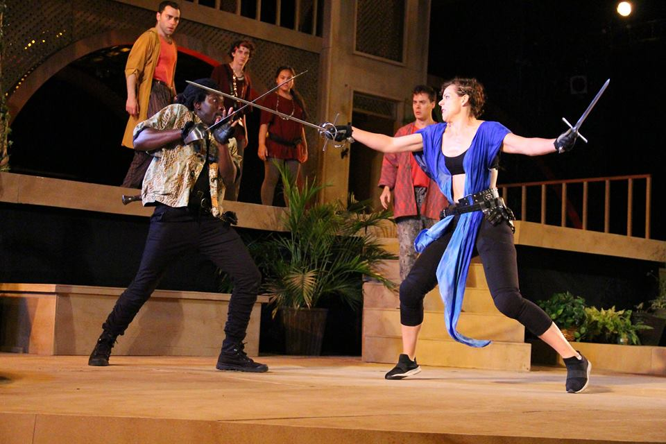 Mercutio (James Udom) and Lord Tybalt (Claire Warden) duke it out. Mike Franzman Photos.