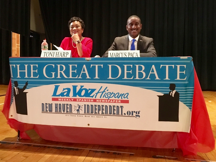 The candidates in place. Christopher Peak for the New Haven Independent.