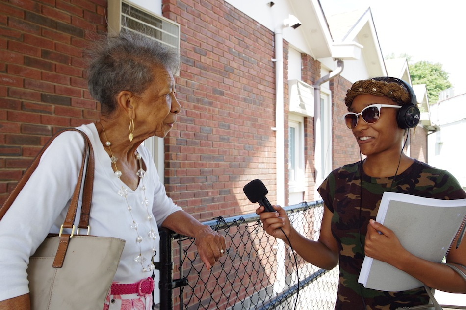 Unique Jones interviews Catherine Moore, whose senior group is held each week at Bethel AME.