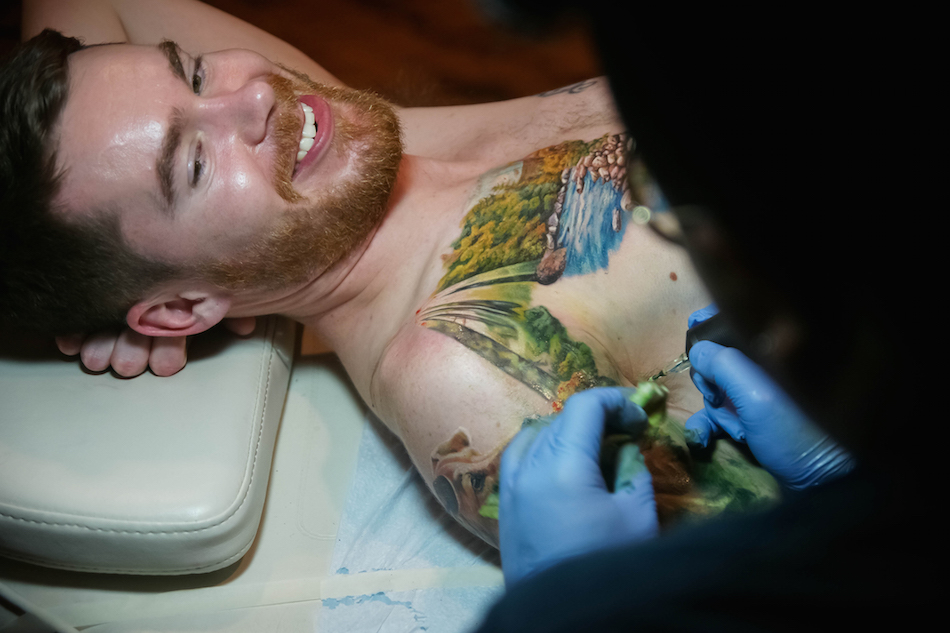 Jake Ness gets tattooed. Corey Hudson Photos.