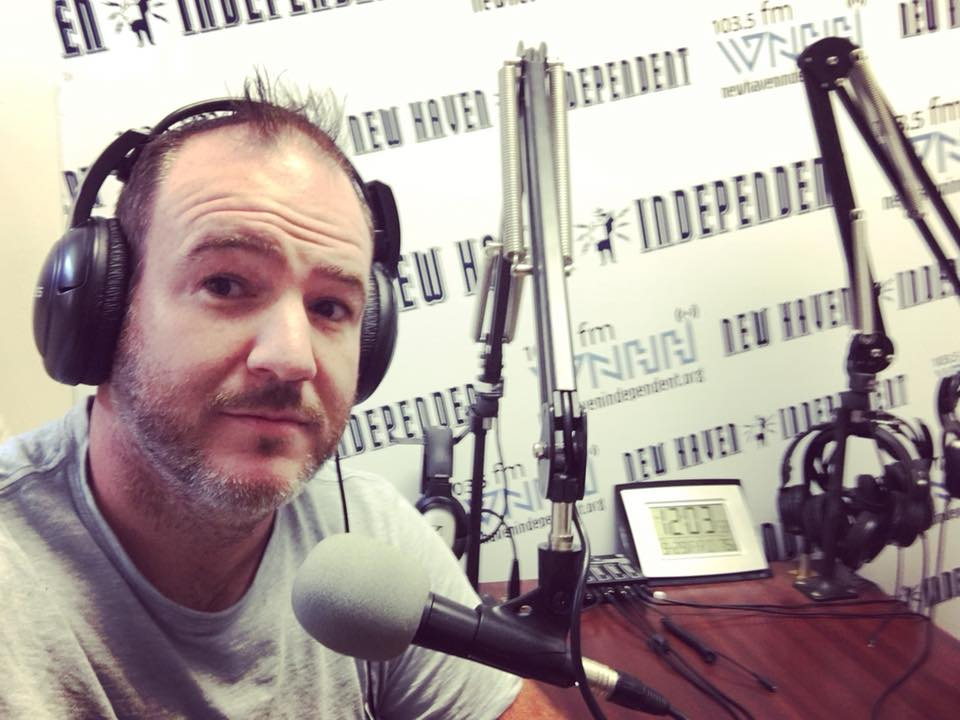 Cashman in the WNHH Radio Studio. Lucy Gellman Photo.