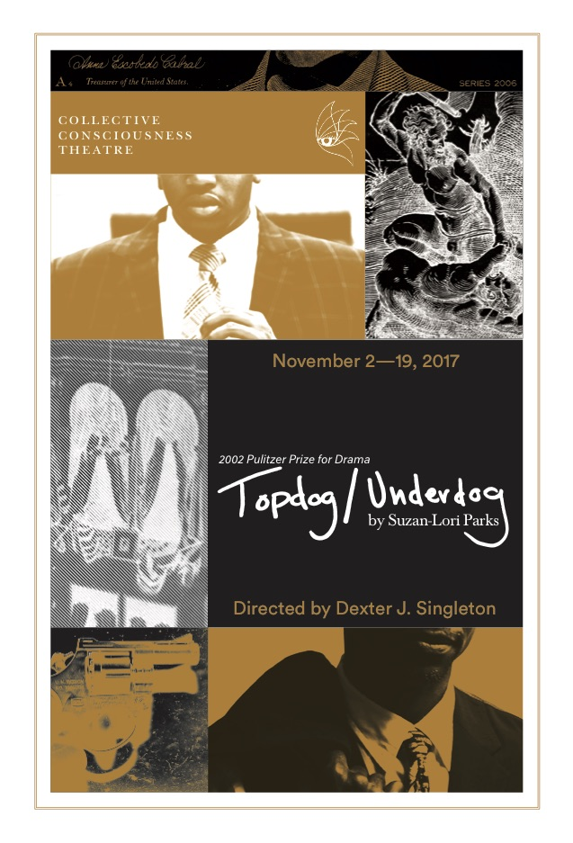 A poster for Topdog/Underdog, the current show at CCT.