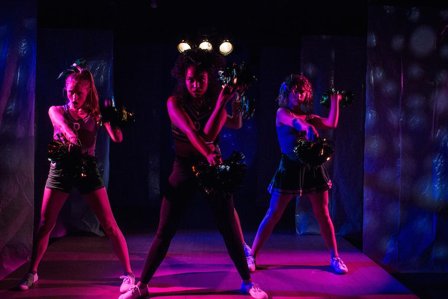 Rachel Kenny, Courtney Jamison and Marié Botha as cheerleaders Debbie, Megan and Bailey. Photos courtesy Yale Cabaret.