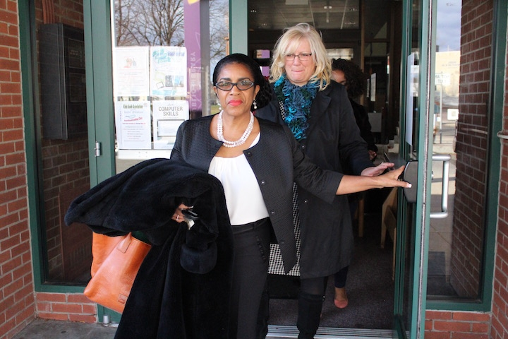 "Diane Brown on her way to receive an ""I Love My Librarian"" award. Markeshia Ricks for the New Haven Independent."