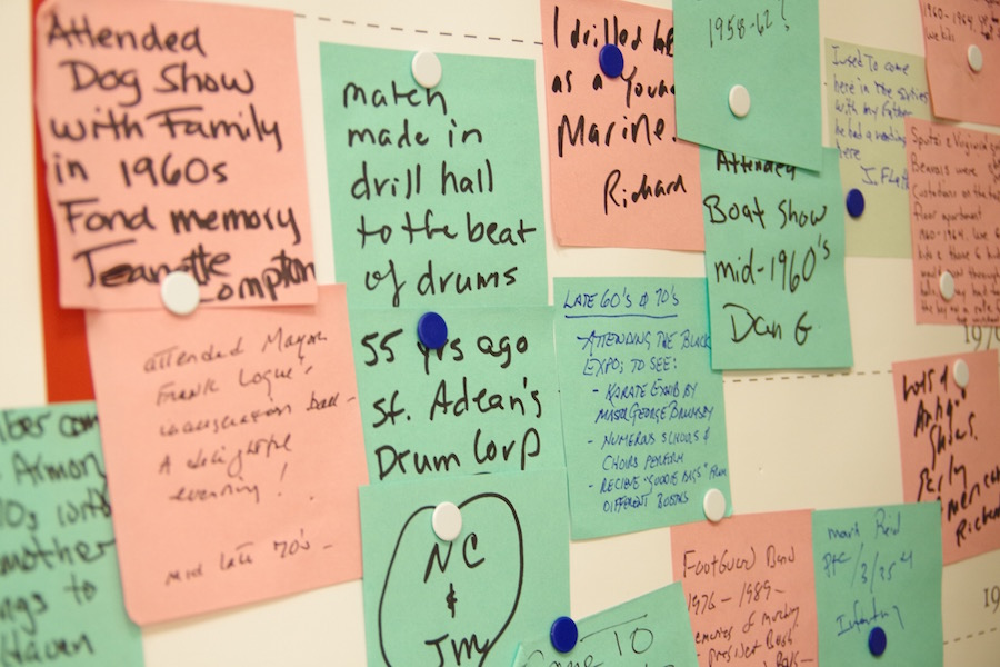 During CWOS, people wrote down their memories of the Armory. Rubin kept those post-its in one place. Lucy Gellman Photo.