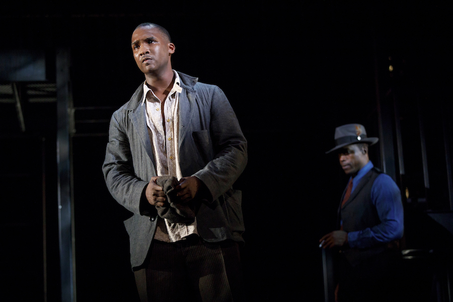 Jerod Haynes and Jason Bowen in  Native Son  by Nambi E. Kelley, adapted from the novel by Richard Wright, directed by Seret Scott. Photo by Joan Marcus, 2017.