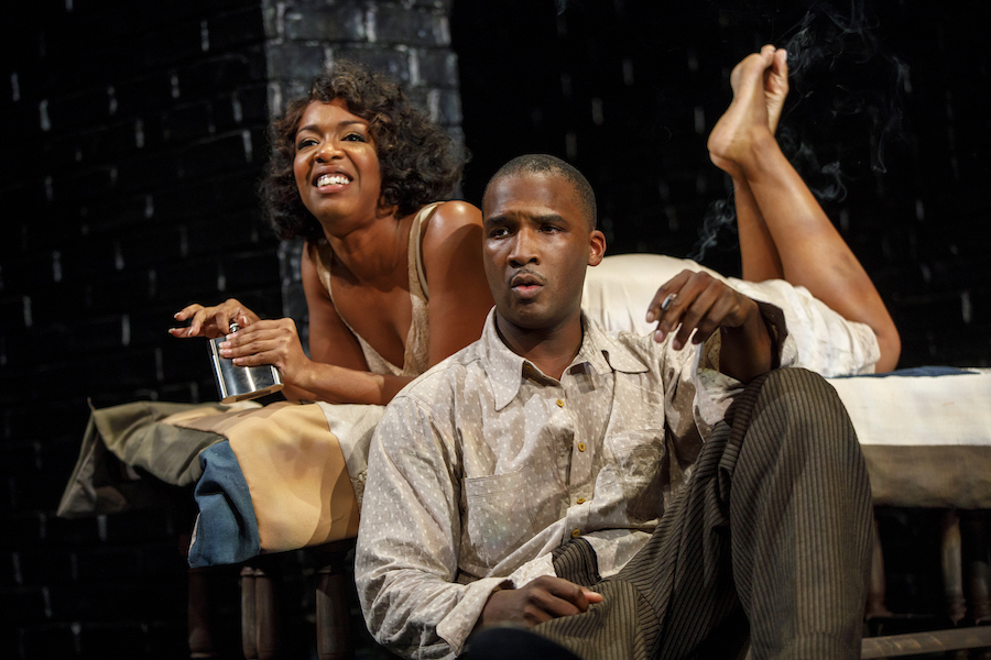Jessica Frances Dukes and Jerod Haynes in  Native Son  by Nambi E. Kelley, adapted from the novel by Richard Wright, directed by Seret Scott. Photo by Joan Marcus, 2017.