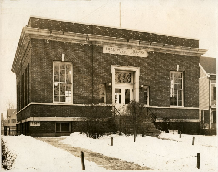 The original branch building, smaller than the expanded version that now sits at 182 Grand Ave. NHFPL Photo.