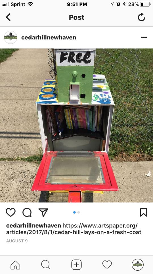 The little free library when it was first installed. Cedar Hill Assocoation Photo.