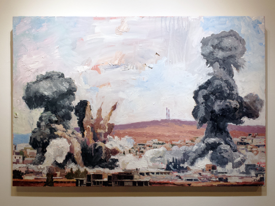 "John Keefer's ""Airstrike"" installed at Giampietro Gallery. Stephen Urchick Photo."