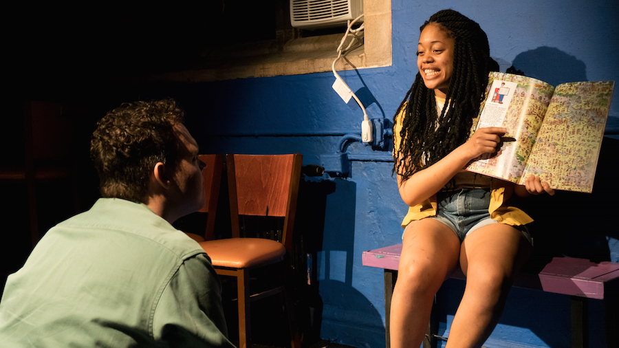 """But what happens to the boy?"" JJ McGlone and Ciara McMillian as P.K. Whylde and Glory ""Z"" Zico. Yale Cabaret Photos."