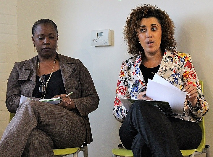 DuBois-Walton at a panel discussion last summer, where she discussed fair and affordable housing. On the left is Genevieve Walker. Thomas Breen for the New Haven Independent.