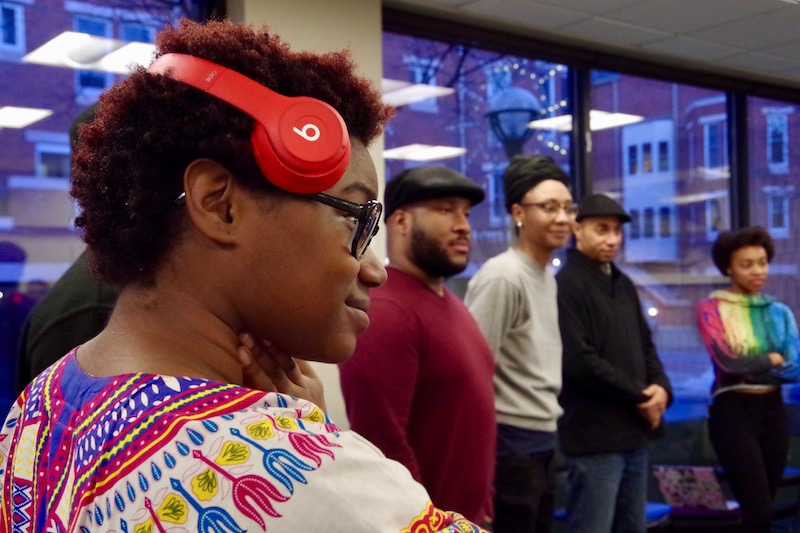 The first Weekly Word Workshop began with an exercise where attendees added freeform sounds, beats, and song-like melodies to a collaborative freestyle.