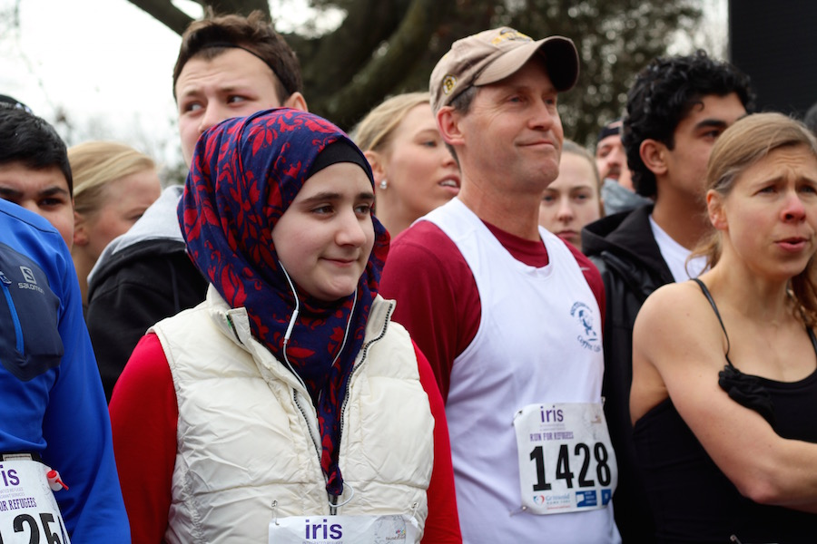 Nour Alzouabi gets ready to hit the pavement. Lucy Gellman Photos.