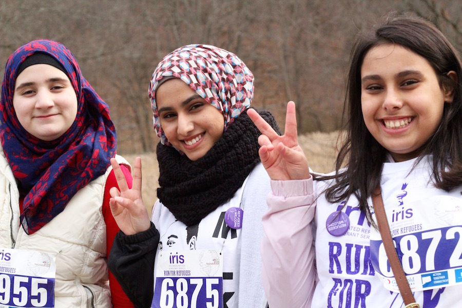 Alzouabi at left, with fellow refugees and Hillhouse classmates Noor Roomi and Reem Asood.